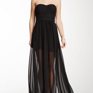 Aryn K Embroidered Strapless Maxi Dress Medium